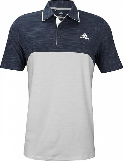Adidas Ultimate Heather Blocked Golf Shirts - ON SALE