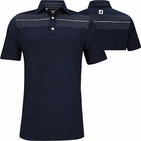 FootJoy ProDry Performance Lisle Chest Pinstripe Self Collar Golf Shirts - Athletic Fit - FJ Tour Logo Available - Previous Season Style