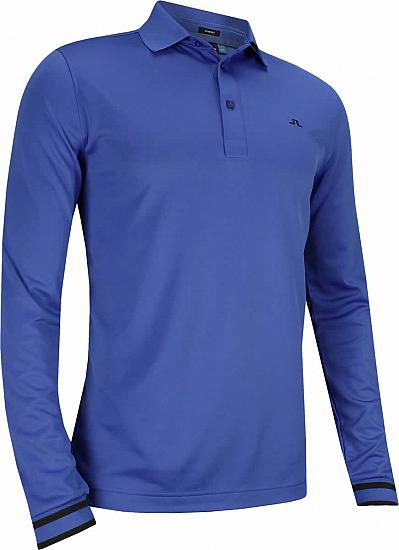 J.Lindeberg Olle TX Peached Polo Long Sleeve Golf Shirts - Daz Blue - ON SALE