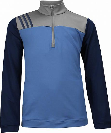 Adidas 3-Stripe Layering Juniors Half-Zip Golf Pullovers - ON SALE