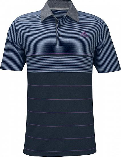 Adidas Ultimate 365 Heather Stripe Golf Shirts - Collegiate Navy - ON SALE