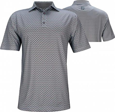 FootJoy ProDry Lisle Foulard Print Golf Shirts - Athletic Fit - Anaheim Collection - FJ Tour Logo Available
