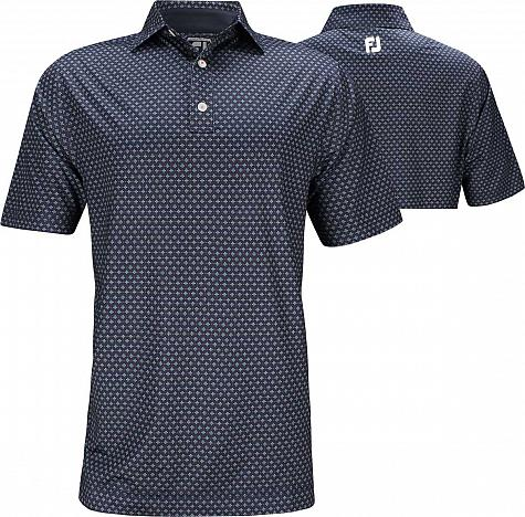 FootJoy ProDry Lisle Foulard Print Golf Shirts - Athletic Fit - FJ Tour Logo Available - Previous Season Style - HOLIDAY SPECIAL