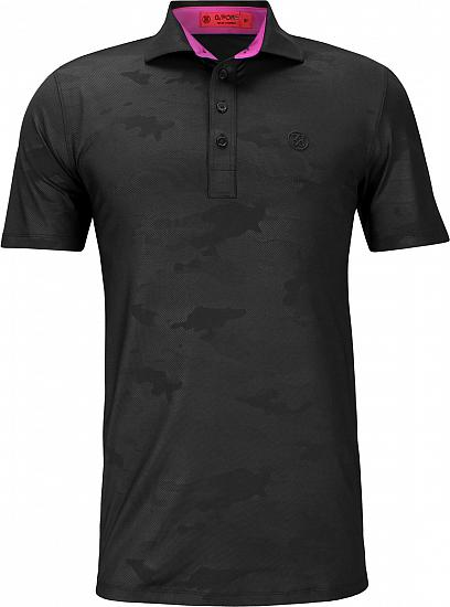 G/Fore Camo Embossed Golf Shirts - Black Ink