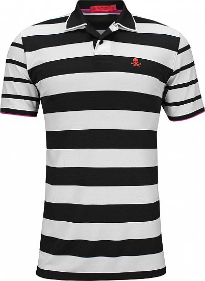 G/Fore Skull Stripe Golf Shirts - Black Ink - ON SALE