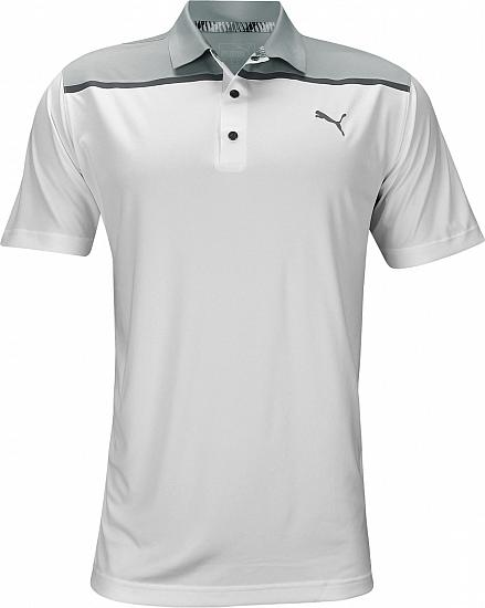 Puma Bonded Colorblock Golf Shirts - Bright White - ON SALE