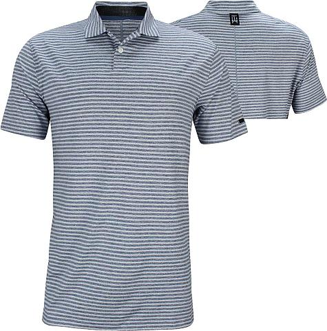 Nike Dri-FIT Tiger Woods Vapor Stripe Golf Shirts - Gym Blue