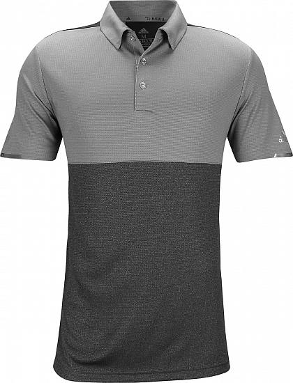 Adidas ClimaChill Heather Block Competition Golf Shirts - Heather Black