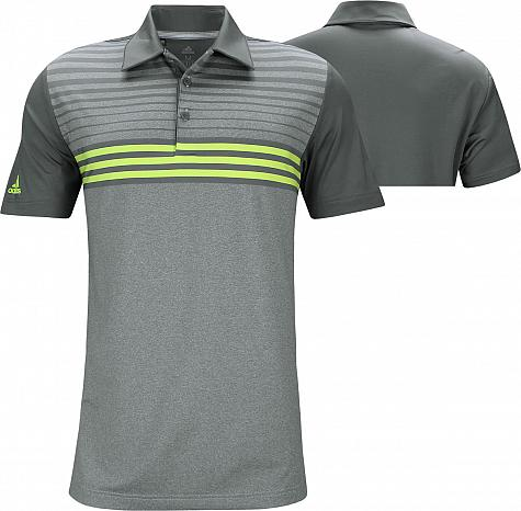 Adidas Ultimate 3-Stripe Heather Gradient Golf Shirts - Grey - ON SALE