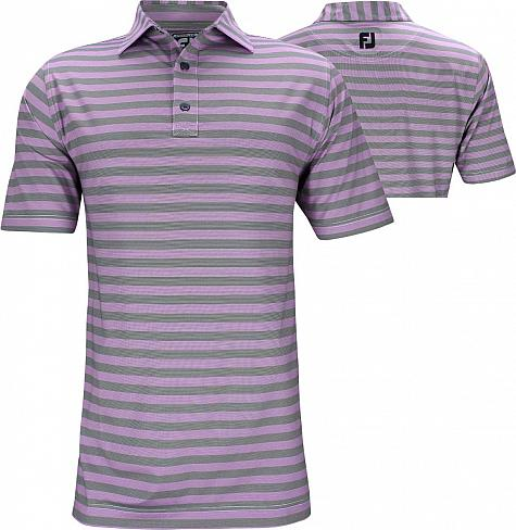 FootJoy ProDry Performance End on End Multistripe Golf Shirts - Athletic Fit - Violet - FJ Tour Logo Available - Previous Season Style