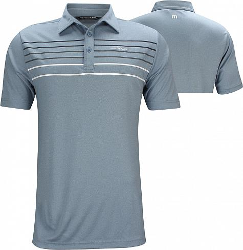 TravisMathew Malm Golf Shirts - Heather Blue