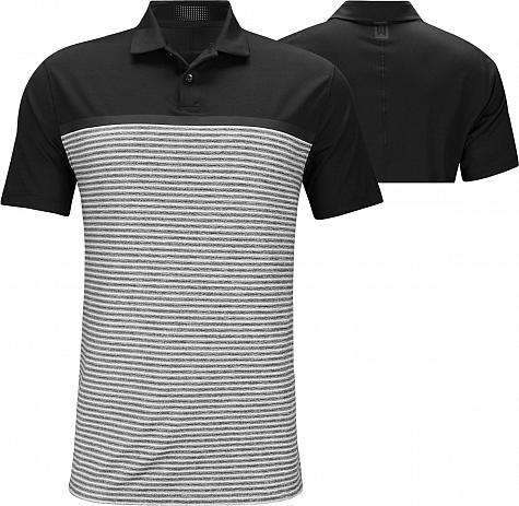 Nike Dri-FIT Tiger Woods Vapor Stripe Block Golf Shirts - Black
