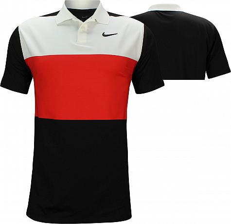 Nike Dri-FIT Vapor Control Color Block Golf Shirts - Habanero Red