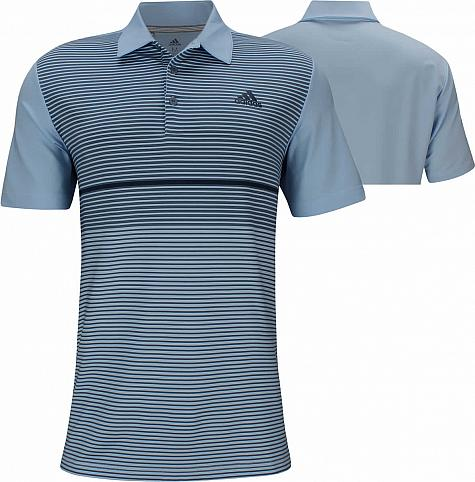 Adidas Ultimate Colorblock Golf Shirts - Glow Blue