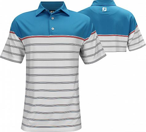 FootJoy ProDry Lisle Colorblocked Stripe Golf Shirts - Lake Geneva Collection - FJ Tour Logo Available