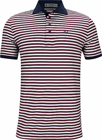 G/Fore G4 Stripe Golf Shirts - Cabernet
