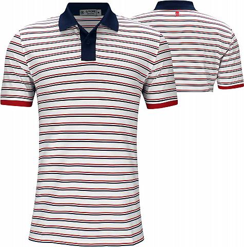 G/Fore Perforated Skull Stripe Golf Shirts - White