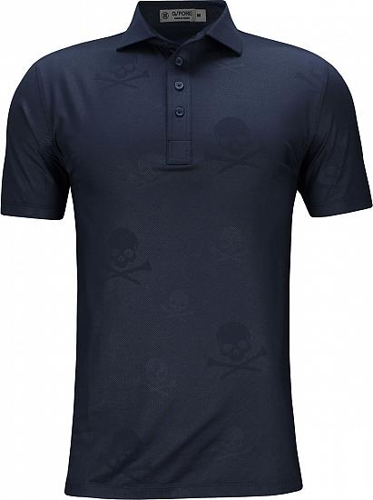 G/Fore Skull & T's Embossed Golf Shirts - Twilight Blue