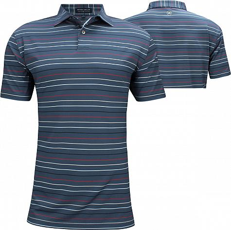 Peter Millar Crown Crafted Baker Stripe Stretch Jersey Golf Shirts - Tour Fit