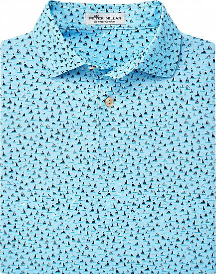Peter Millar Ridley Printed Sailboats Jersey Junior Golf Shirts