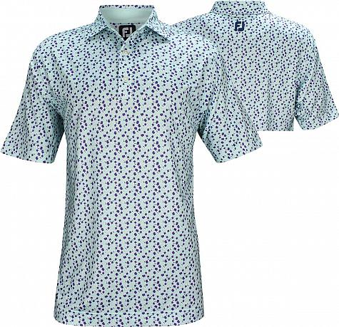 FootJoy ProDry Lisle Flower Print Golf Shirts - FJ Tour Logo Available
