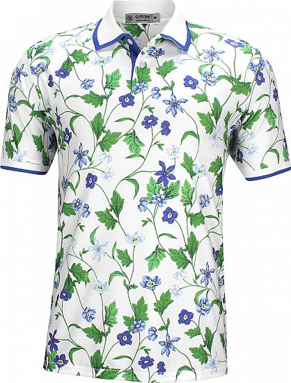 G/Fore Blue Floral Golf Shirts - ON SALE