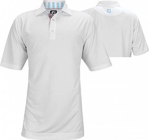 FootJoy ProDry Solid Pique with Stripe Trim Golf Shirts - FJ Tour Logo Available