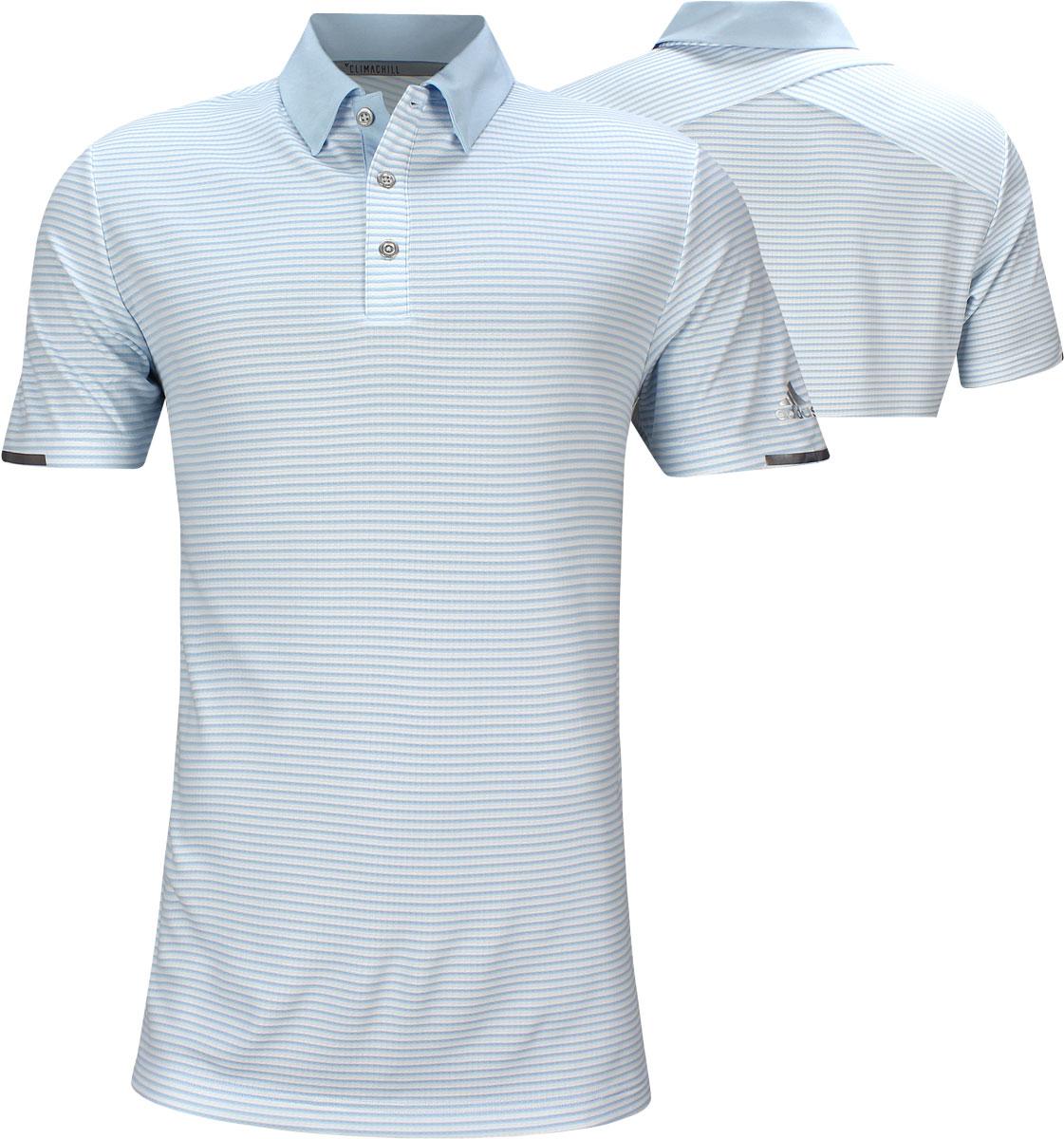 a11346be0 Adidas ClimaChill 2-Color Tonal Stripe Golf Shirts - Glow Blue - Jon Rahm  British Open. undefined. undefined. Enlarge