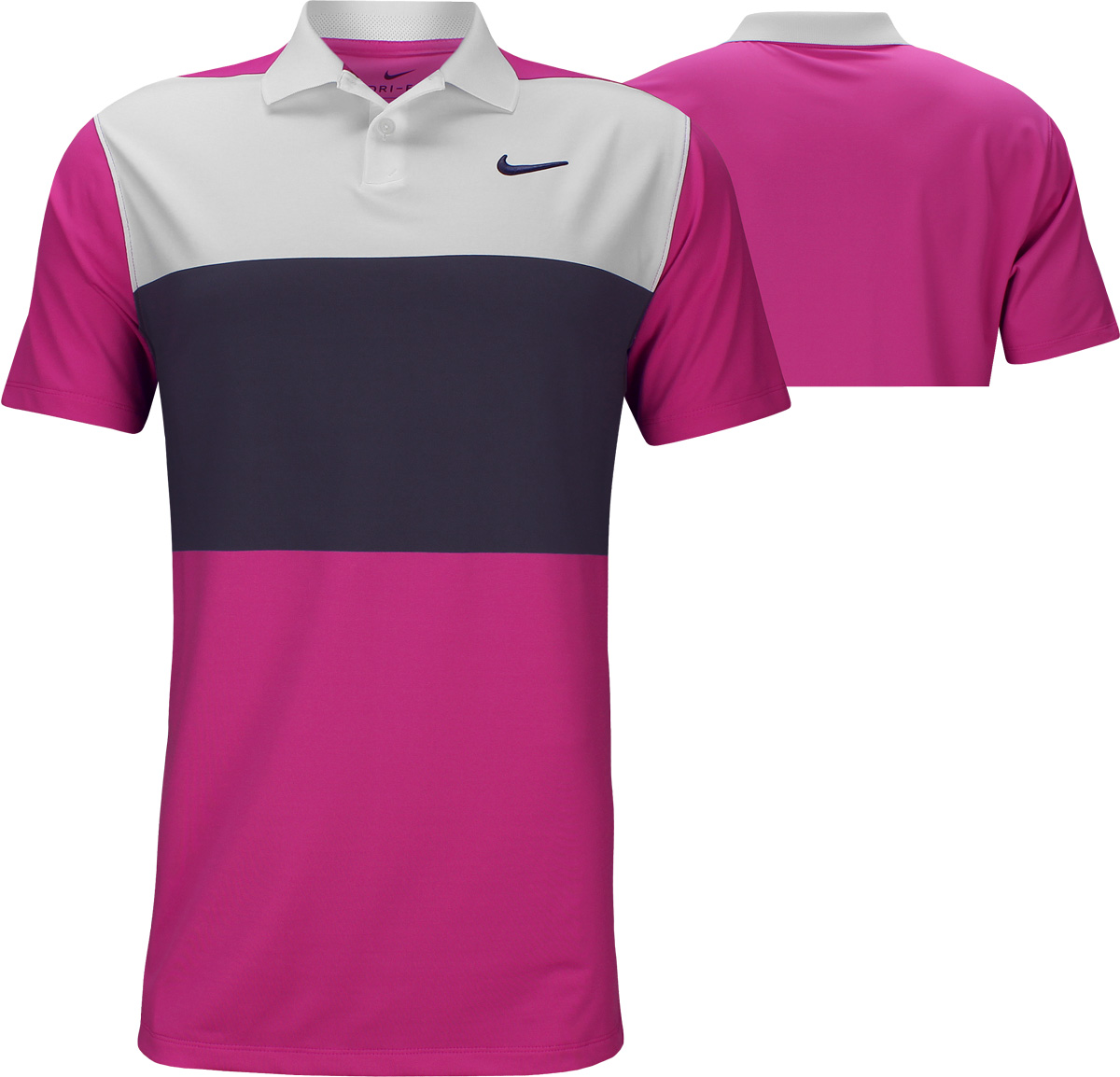 f865f0289bc3 Nike Dri-FIT Vapor Control Color Block Golf Shirts - Active Fuchsia