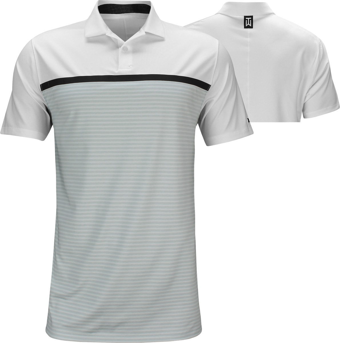 3da5c0d8 Nike Dri-FIT Tiger Woods Vapor Stripe Block Golf Shirts - White - Tiger  Woods PGA Championship - Saturday